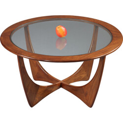 "Round G-Plan ""Astro"" coffee table in teak and glass, Victor WILKINS - 1960s"