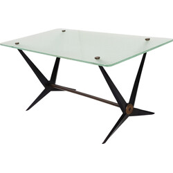 Italian coffee table in black lacquered steel and glass, Angelo OSTUNI - 1950s