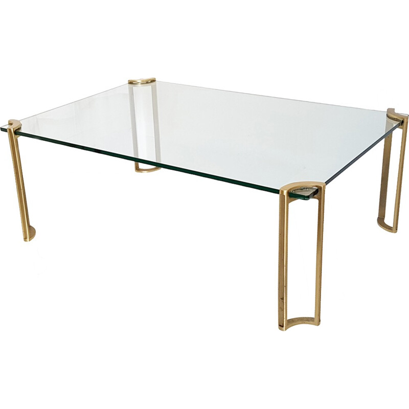 Coffee table in brass and glass, Peter GHYCZY - 1970s
