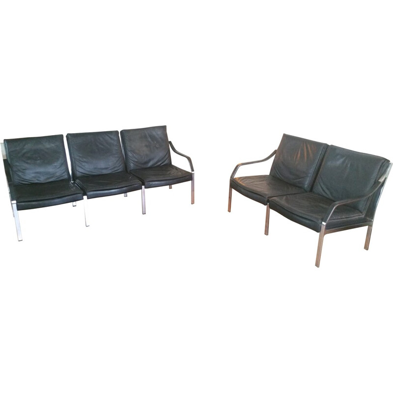 Seating group in metal and black leather, Walter KNOLL - 1970s