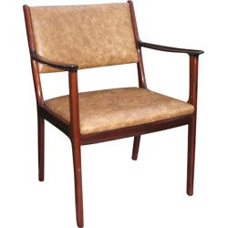 """""""PJ412"""" armchair in mahogany and leather, Ole WANSCHER - 1960s"""