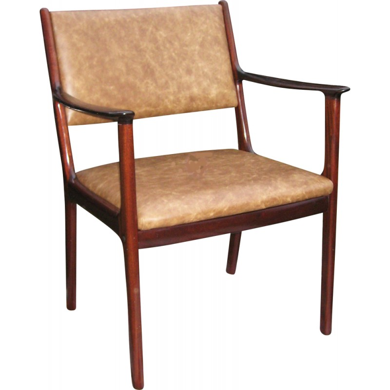 """PJ412"" armchair in mahogany and leather, Ole WANSCHER - 1960s"