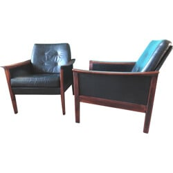 Pair of Danish armchairs in black leather and beech - 1960s