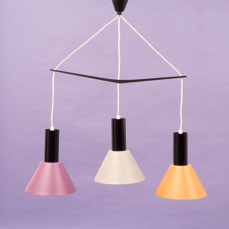 Multicolored hanging lamp in metal with 3 lamp shades - 1960s ...