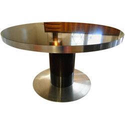"Round Italian ""Savage"" dining table in brushed aluminum, Willy RIZZO - 1970s"