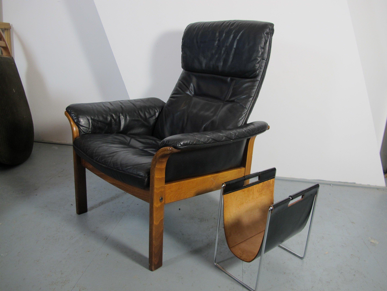 Scandinavian g mobel lounge chair in leather 1950s for Danish design mobel