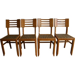 Set of 4 mid century chairs in wood with caning - 1950s