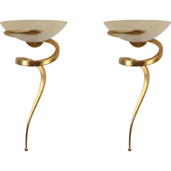 """Pair of Lamp """"Teo"""" wall lamps in aluminum and glass, Enzo CIAMPALINI - 1970s"""