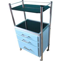 Small dentist cabinet in blue lacquered sheet steel - 1950