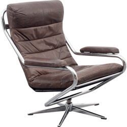 Mid-century armchair in chromed metal and brown leather - 1970s