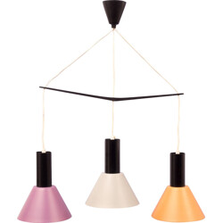 Multicolored hanging lamp in metal with 3 lamp shades - 1960s