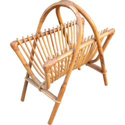 Large magazine rack in rattan - 1960s