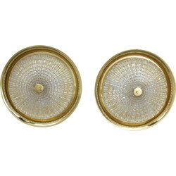 Pair of Orrefors wall lamps, Carl FAGERLUND - 1960s
