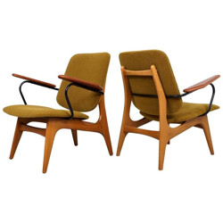 Pair of Dutch re-upholstered armchairs - 1960s