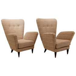 Pair of Italian armchairs in fabric, Paolo BUFFA - 1950s