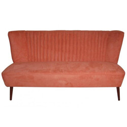 Restored orange velvet club sofa - 1950s