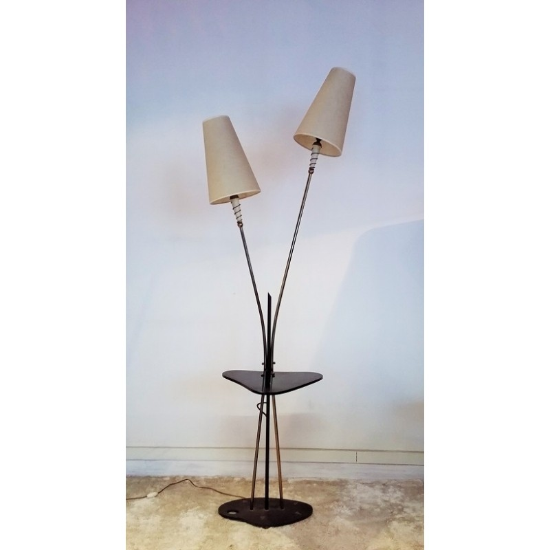 Floor lamp with double lamp shades in metal and glass 1950s previous aloadofball Gallery
