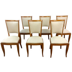 Set of 6 French dining chairs in walnut and fabric - 1930s
