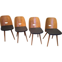 Set of 4 dining chairs in oak and fabric - 1950s