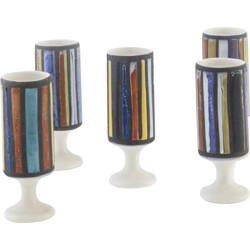 Set of 5 glasses in multicoloured ceramic - 1950s