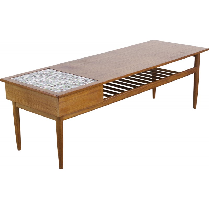 Teak Coffee Table With Small Tiles Inlay S Design Market - Coffee table with tile inlay