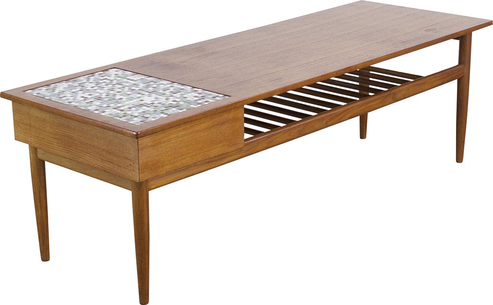 Teak coffee table with small tiles inlay - 1960s - Design ...