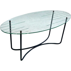 Vintage coffee table in glass and metal, Jacques HITIER - 1950s