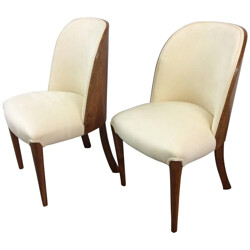 Pair of chairs in walnut and faux suede - 1930s