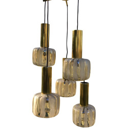 Vintage 5-armed hanging lamp in glass and brass - 1960s