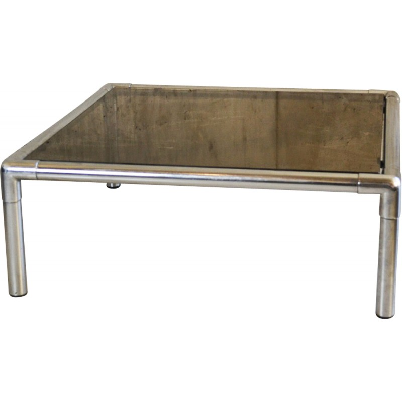Lexington Chunky Chrome Coffee Table: Mid Century Chrome And Smoked Glass Square Coffee Table