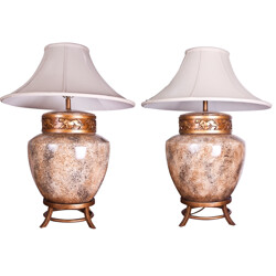 Pair of large table lamps in ceramic - 1980s