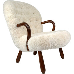 """Re-upholstered Nordisk Staal """"Clam"""" armchair, Philip ARCTANDER - 1940s FACTURE"""
