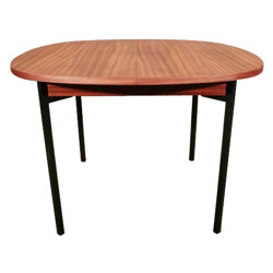 Dining table in metal and mahogany - 1950s