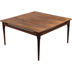 Vintage square rosewood coffee table - 1950s