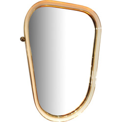 Free form italian mirror in metal and brass - 1960s