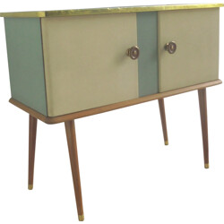 Small sideboard in wood and skai - 1950s