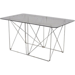 Folding table in chromed steel and glass - 1970s