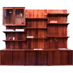 Wall system in rosewood, Poul CADOVIUS - 1960s