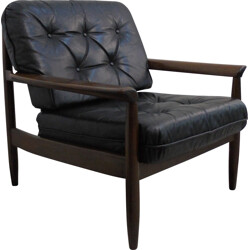 Scandinavian armchair in black leather and wood - 1960s