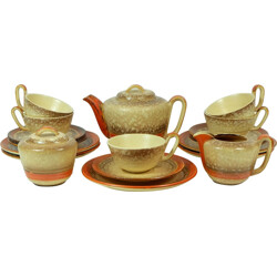 Ceramic 5 persons tea set with teapot, jug and sugar pot - 1930s