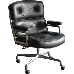 """Lobby"" armchair in black leather, Charles EAMES - 1980s"