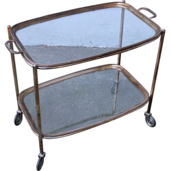 Vintage serving trolley with 2 removable trays - 1960s