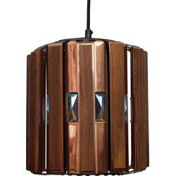 Rosewood and copper pendant lamp, Werner SCHOU - 1960s