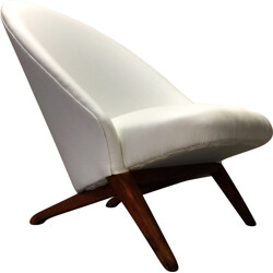 Artifort easy chair in teak and white leatherette, Theo RUTH - 1950s