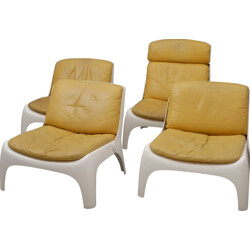 Set of 4 easy chairs in fiberglass and mustard yellow leather - 1970s