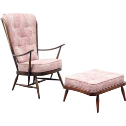 "Ercol ""Windsor 478"" armchair with its ottoman in ashwood and rose fabric, L. ERCOLANI - 1950s"