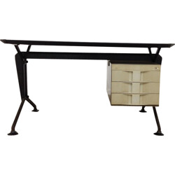 "Olivetti BBPR ""Arco"" desk in black vinyl - 1960s"