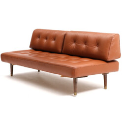 Daybed Danish sofa in cognac leather - 1950s