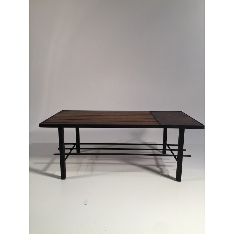Coffee Table In Metal Leather And Wood 1950s Design Market