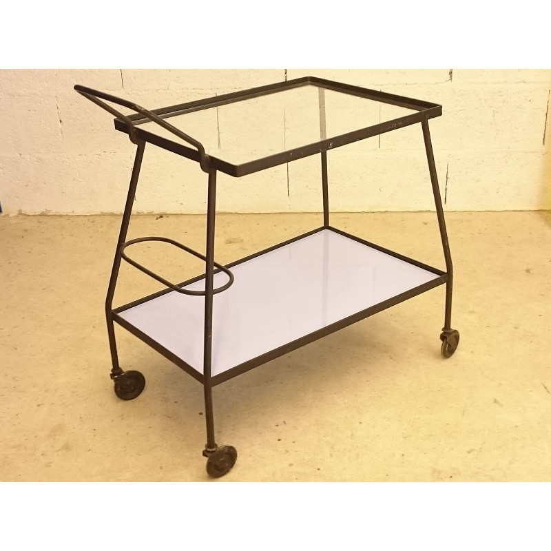 serving table on wheel in glass and metal 1960s design market